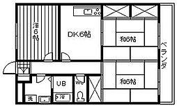 大阪府岸和田市春木旭町の賃貸マンションの間取り