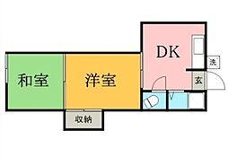 東京都大田区池上6丁目の賃貸アパートの間取り