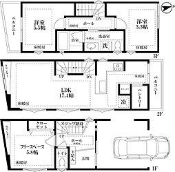 JR山手線 恵比寿駅 徒歩3分の賃貸一戸建て 2SLDKの間取り
