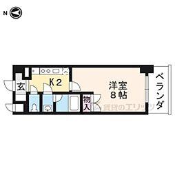 京都市営烏丸線 くいな橋駅 徒歩7分の賃貸マンション 1階1Kの間取り