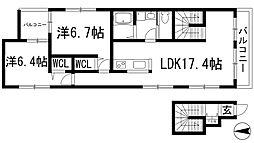 兵庫県宝塚市宝梅1丁目の賃貸マンションの間取り