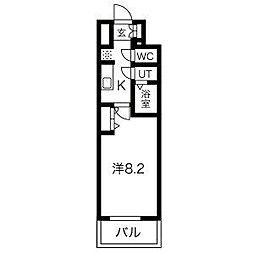名古屋市営鶴舞線 浅間町駅 徒歩5分の賃貸マンション 13階1Kの間取り