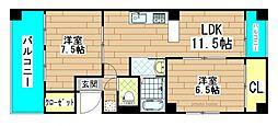 エスタイル北堀江[6階]の間取り