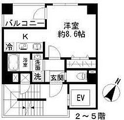 Azur勝どき4丁目 4階1Kの間取り