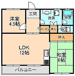 兵庫県宝塚市米谷1丁目の賃貸マンションの間取り