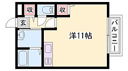 JR山陽本線 相生駅 バス30分 播磨高原中学校下車 徒歩3分の賃貸アパート 2階ワンルームの間取り