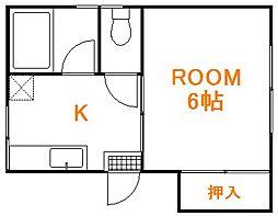 東京都板橋区栄町の賃貸アパートの間取り