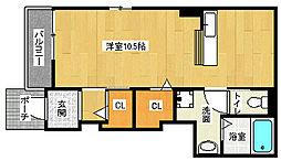 京都府京都市南区八条源町の賃貸アパートの間取り