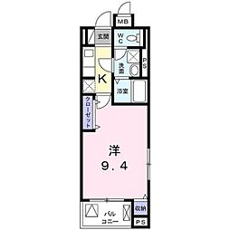 プロムナード桂川 5階1Kの間取り