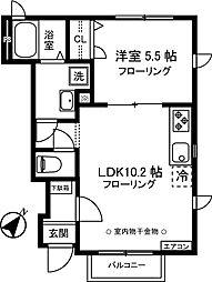 新築(仮称)生田1丁目新築アパート・テラスハウス 1階1LDKの間取り