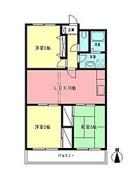 神奈川県相模原市中央区東淵野辺4丁目の賃貸マンションの間取り
