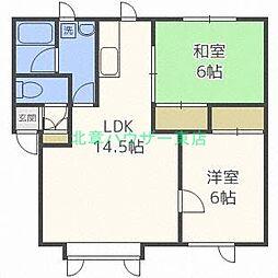 北海道札幌市東区北四十条東4丁目の賃貸アパートの間取り