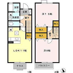 横浜市営地下鉄ブルーライン 三ツ沢上町駅 徒歩15分の賃貸テラスハウス 1階2LDKの間取り