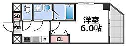 MESSAGE新今里 6階1Kの間取り