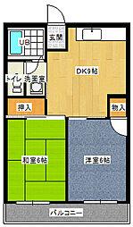 フォレストコートI番館 1階2DKの間取り