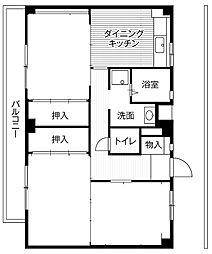 東京都昭島市郷地町3丁目の賃貸マンションの間取り