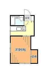 東京都小平市学園西町3丁目の賃貸アパートの間取り