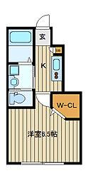 東武東上線 中板橋駅 徒歩7分の賃貸マンション 1階1SKの間取り