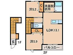 和歌山県和歌山市松江の賃貸アパートの間取り