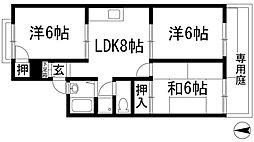サンコートヨシナガB棟[1階]の間取り