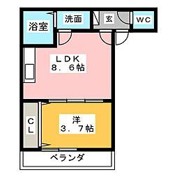 place des Rocco 2階1LDKの間取り