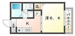 大阪府寝屋川市幸町の賃貸アパートの間取り
