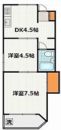 東京都三鷹市下連雀6丁目の賃貸アパートの間取り