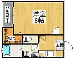 福岡県福岡市博多区空港前1丁目の賃貸アパートの間取り