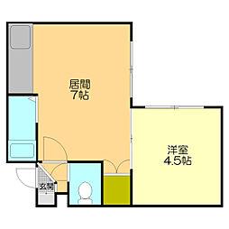 ローヤルハイツ本通南[402号室]の間取り