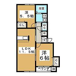 第8メゾンアカマA[1階]の間取り