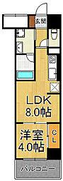 フラクタス尾浜 2階1LDKの間取り