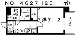リアーレ北田辺[2階]の間取り