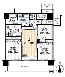 MJR堺筋本町タワー 27階3LDKの間取り