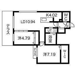 Midtown Terarace B[1階]の間取り