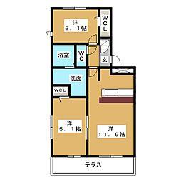 D-roomパークサイド吉塚[1階]の間取り