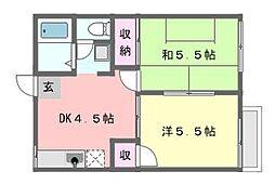 ファミーユ津田沼[102号室]の間取り