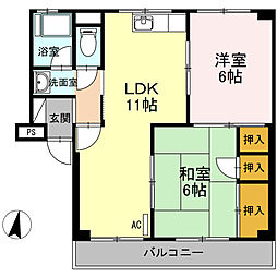 大林マンション[3階]の間取り