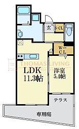 西鉄天神大牟田線 西鉄平尾駅 徒歩8分の賃貸マンション 1階1LDKの間取り