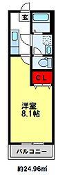 西鉄天神大牟田線 井尻駅 徒歩13分の賃貸アパート 1階1Kの間取り
