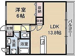 ボナール・ディアコート 3階1LDKの間取り