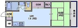 東川サンコーポ 1階1LDKの間取り