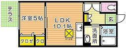 福岡県北九州市戸畑区中原西2丁目の賃貸アパートの間取り