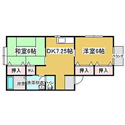 新潟県新潟市秋葉区日宝町の賃貸アパートの間取り