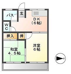ハイツ菊[1階]の間取り