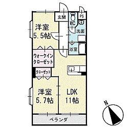 アビタシオンA 2階[204号室]の間取り