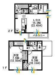 JR中央本線 三鷹駅 徒歩13分の賃貸アパート 2階2LDKの間取り