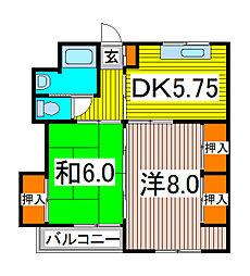 埼玉県川口市並木元町の賃貸マンションの間取り