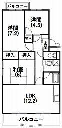 静岡県浜松市中区幸5丁目の賃貸マンションの間取り