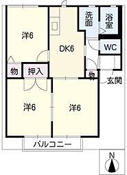 グリーンパレス B棟[1階]の間取り