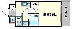 フォーリアライズ阿波座ウエスト 11階1Kの間取り